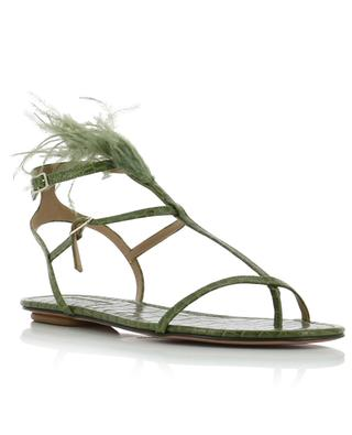 Ponza flat croc embossed leather sandals with feathers AQUAZZURA