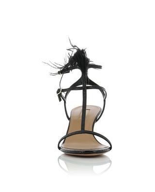 Ponza 60 heeled croc print sandals with feathers AQUAZZURA