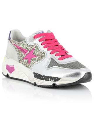 Ball Star metallic leather, mesh and glitter sneakers GOLDEN GOOSE