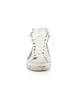 Slide leather and glitter high-top sneakers GOLDEN GOOSE