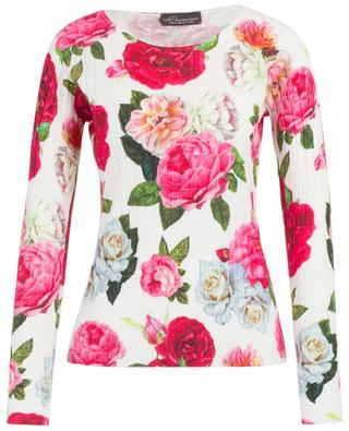 Rose print adorned thin rib knit jumper PRINCESS