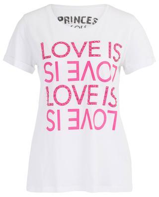 Slogan-T-Shirt mit Strass Love is Love PRINCESS