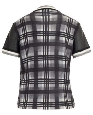 Check pattern faux leather T-shirt PRINCESS