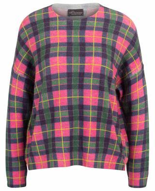 Kurzer weiter Pullover mit Neon-Karos PRINCESS