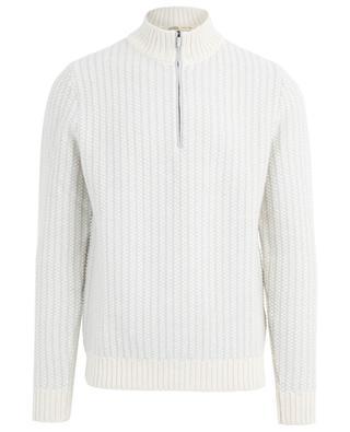 Thick wool jumper with zippered mock collar MAURIZIO BALDASSARI