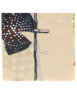 Délicate thin scarf with laundry print and Lurex STORIATIPIC