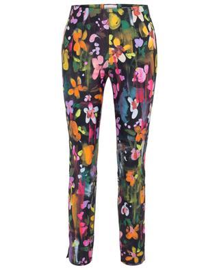 Sabrina paint effect floral stretch trousers SEDUCTIVE