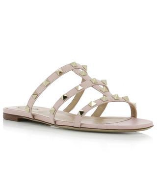 Mules sandale plates en cuir Rockstud VALENTINO