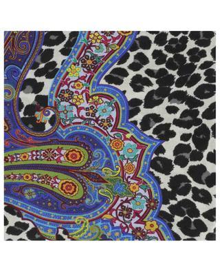 Quadratisches Halstuch mit Leopardenflecken und Paisley Bombay ETRO