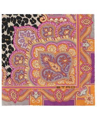Quadratisches Seidentuch mit Paisley- und Leopard-Print ETRO