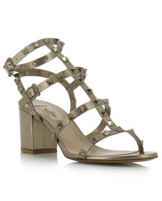Sandales à talon carré en cuir doré Rockstud 60 VALENTINO