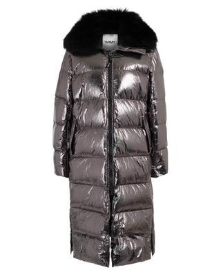 Real fur adorned long down jacket Y SALOMON ARMY