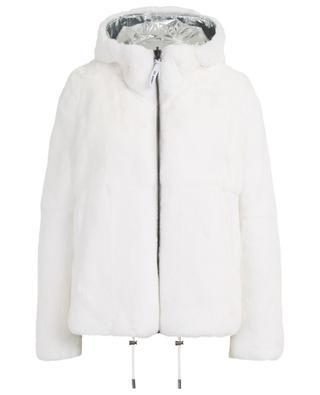 Wendbare Jacke aus silbrigem Nylon und Pelz Y SALOMON ARMY