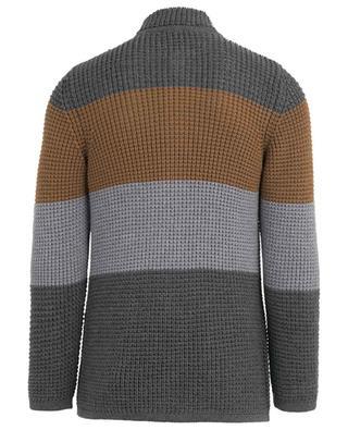 Cardigan tricot tricolore en laine vierge PAOLO PECORA