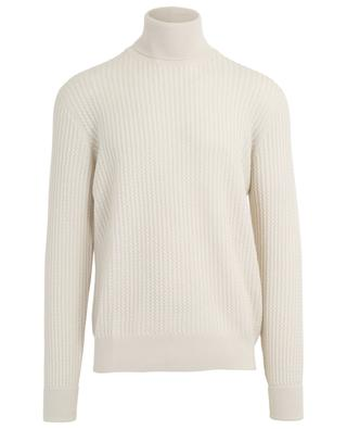 Thin turtleneck cable knit jumper PAOLO PECORA