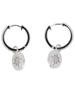 North Star rhodium plated silver hoop earrings AVINAS