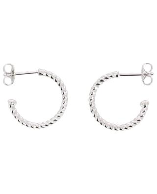 Pearl Bubble rhodium plated silver hoop earrings AVINAS