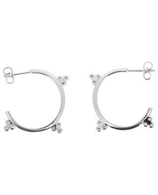 Triade rhodium plated hoop earrings with zirconia stones AVINAS