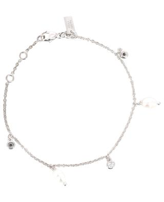Pearl rhodium plated silver bracelet AVINAS