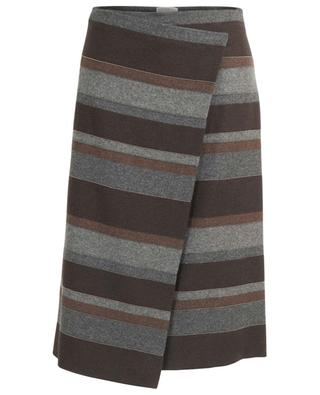 Monile embellished striped flannel wrap skirt BRUNELLO CUCINELLI