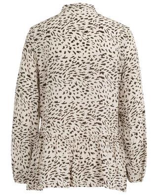 Emu print silk peplum shirt HEMISPHERE