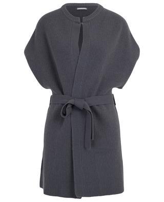 Long belted rib knit cardigan HEMISPHERE