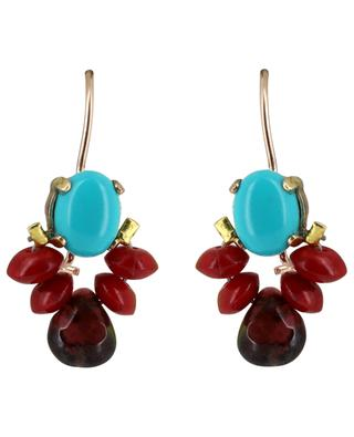 Bee turquoise, coral and crysal earrings OTTOMANIA