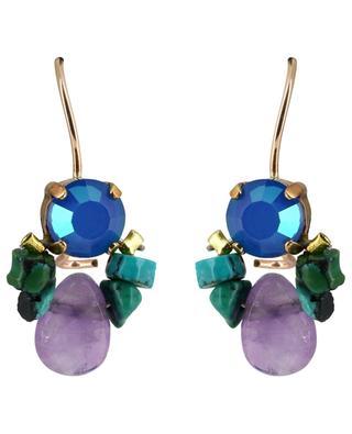 Boucles d'oreilles améthyste, cristal et turquoise Bee OTTOMANIA