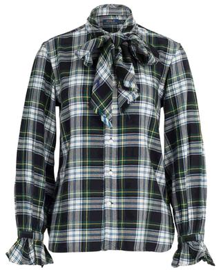 Checked flannel shirt with pussy bow POLO RALPH LAUREN