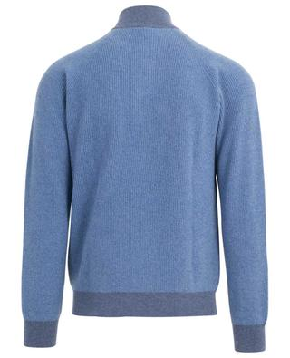 Rib knit jumper with zippered stand-up collar FEDELI