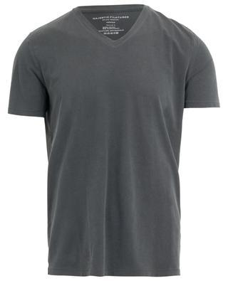 T-shirt col V en coton mélangé MAJESTIC FILATURES