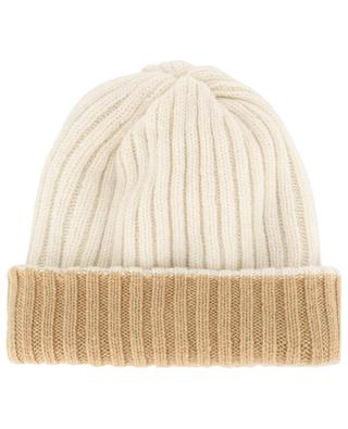 Reversible double layer rib knit cashmere beanie FEDELI