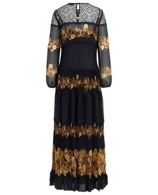 Long pleated floral dress with lace yokes TWINSET