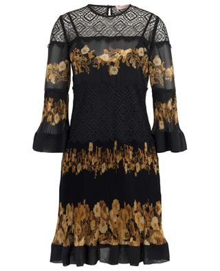 Short pleated floral dress embellished with lace TWINSET