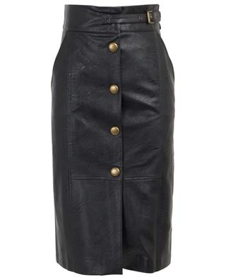 Button-down faux leather skirt TWINSET