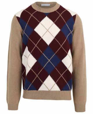 Pull épais à motif losanges en laine et cachemire FILIPPO DE LAURENTIIS