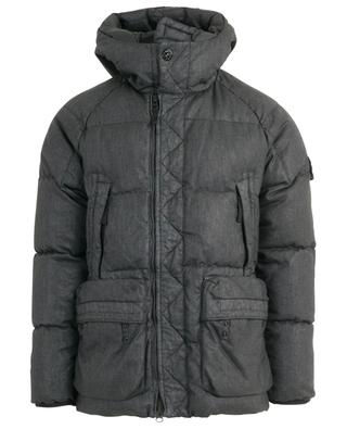 Lino Resinato Down-TC hodded down jacket STONE ISLAND