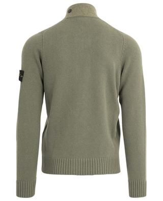 Chunky button-down stand-up collar cardigan with felt detail STONE ISLAND