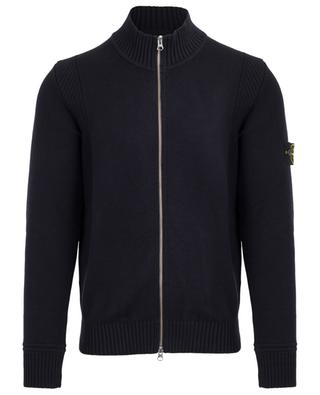 Zippered cardigan with rib knit high collar STONE ISLAND