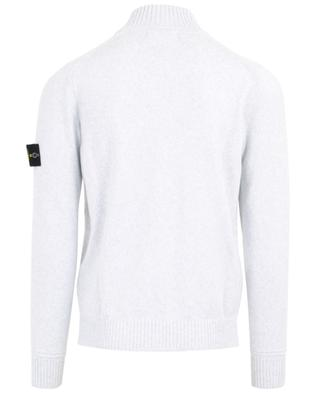 Zippered cardigan with rib knit high collar STONE ISLAND