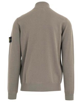 Cardigan tricot zippé en laine mélangé à col montant STONE ISLAND