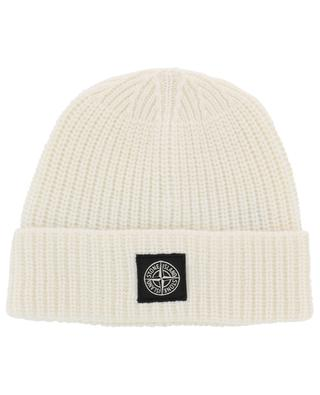 Rib knit beanie with wind rose patch STONE ISLAND