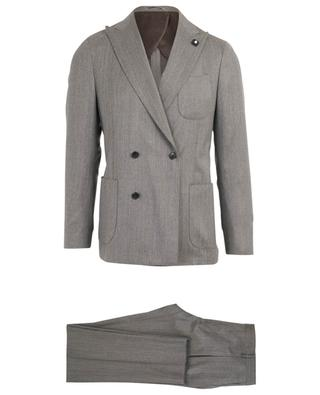 Wool and silk suit with chevron pattern LARDINI