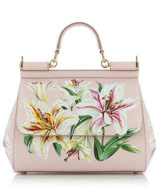Sicily Medium lily print leather bag DOLCE & GABBANA