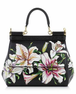 Sicily Small textured leather bag with lily print DOLCE & GABBANA