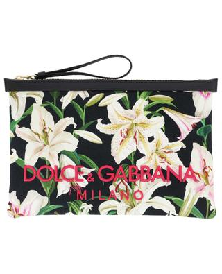 Lily Print embroidered canvas and leather pouch DOLCE & GABBANA