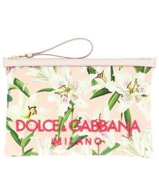 Clutch aus besticktem Tuch und Leder Lily Print DOLCE & GABBANA