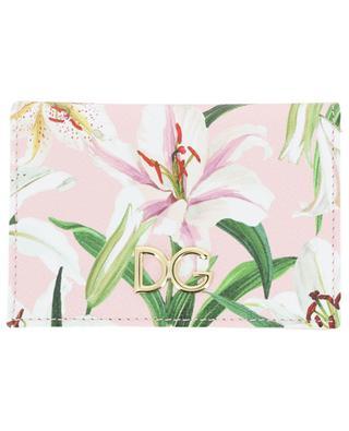 Kartenetui mit Klappe und Lilienprint DG Logo DOLCE & GABBANA
