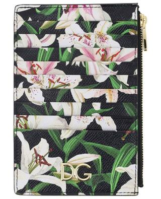 Large leather card holder with lily print DOLCE & GABBANA