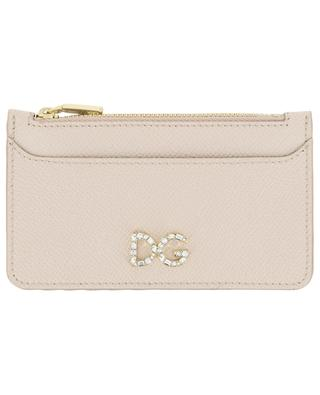 DG Logo Strass zippered leather card holder DOLCE & GABBANA
